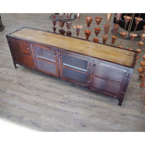 Mango Wood and Iron Sideboard Cupboard Storage Media Unit - Mango Wood and Iron - Mango Wood and Dark Brown Iron - MHIA-ASR-151