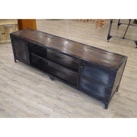 Iron Sideboard Cupboard Storage Unit - Iron - Dark Mango Wood and Iron - MHIA-ASR-152