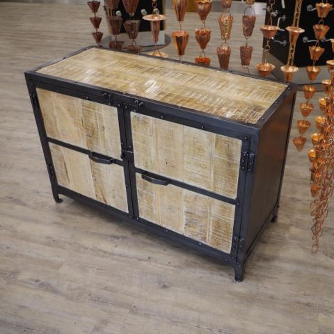 Mango Wood and Iron Sideboard - Mango Wood and Iron - Natural Mango Wood - MHIA-ASR-155