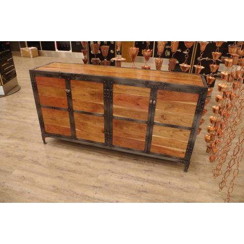Mango Wood and Iron Four Door Sideboard - Mango Wood and Iron - Natural Mango Wood and Iron - MHIA-ASR-158-01