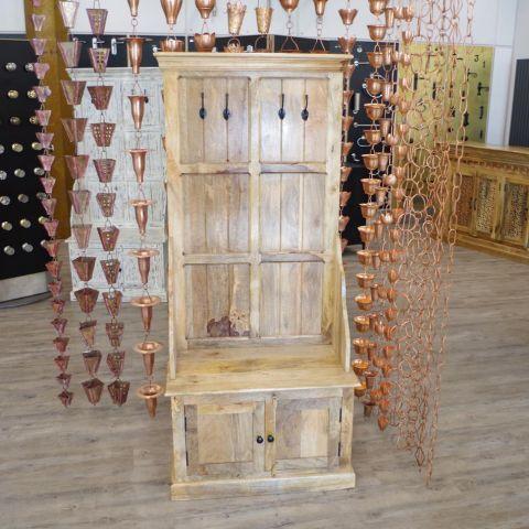 Mango Wood Hall Unit with Coat Hooks And Cupboard Storage - Mango Wood - Natural Mango Wood - MHIA-ASR-161-0