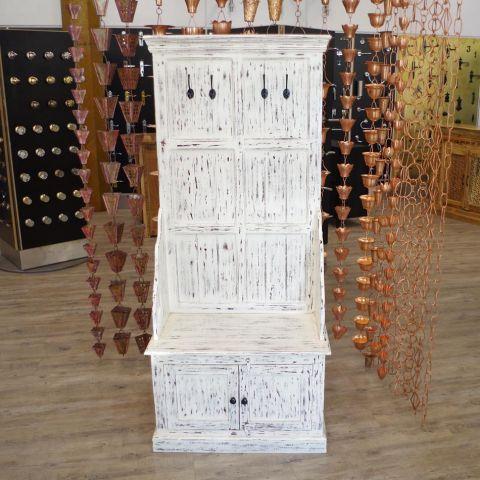 Mango Wood Hall Unit with Coat Hooks And Cupboard Storage - Mango Wood - White Mango Wood - MHIA-ASR-164