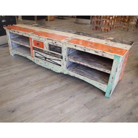 Mango Wood Large Media Unit - Mango Wood - White, Red and Black Painted Mango Wood - MHIA-ASR-166