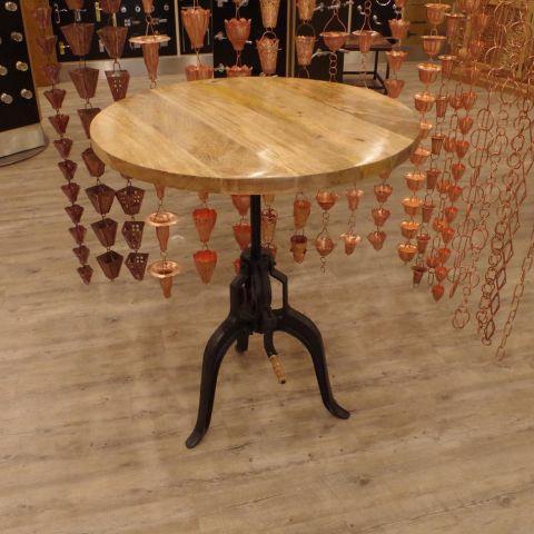 Mango Wood and Iron Adjustable Crank Table Coffee Table - Mango Wood and Iron - Natural Mango Wood and Iron - MHIA-ASR-169