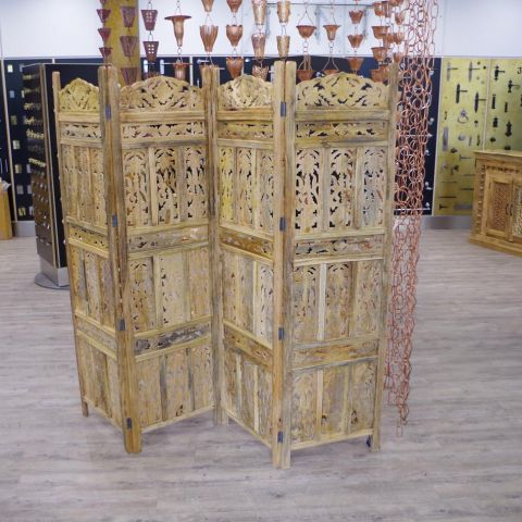 Natural Mango Wood Carved 4 Panel Screen or Room Divider