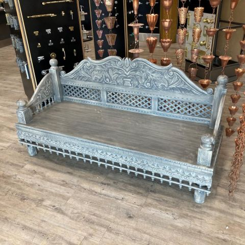 Mango Wood Hand Carved Daybed in Grey and White Wash Finish