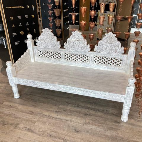 Mango Wood Hand Carved Daybed in White Wash Finish