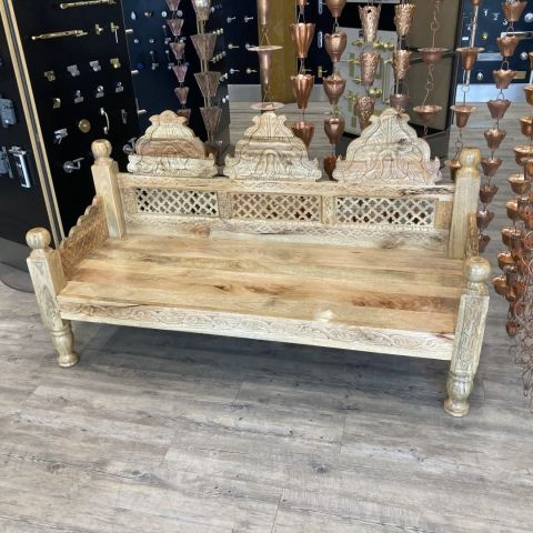Natural Finish Mango Wood Hand Carved Daybed