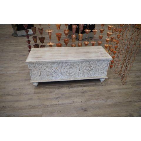 Mango Wood Bedroom Set Ottoman Box - Mango Wood - White Mango Wood - MHIA-SET-BOX