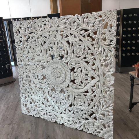Mango Wood Bedroom Set Hand Carved Wall Panel/Head Board - Mango Wood - White Mango Wood - MHIA-SET-P