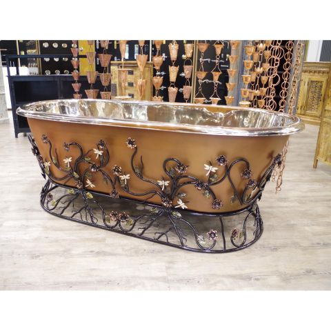 Copper Out and Nickel In Bath with Decorative Iron Stand - Copper and Iron - Satin Copper Outside, Polished Nickel Inside with Iron Stand - MHBA005