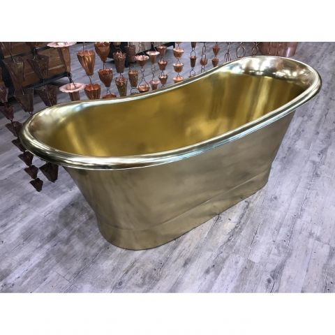 Brass Inside and Outside Double Slipper Bath - Brass - Brass Outside and Inside - MHBA025