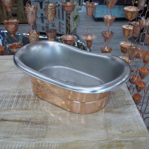 Polished Copper Outside, Satin Nickel Inside Sink - Copper - Polished Copper Outside, Satin Nickel Inside - MHSNK006