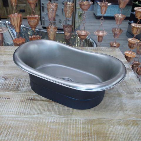 Black EPI Outside, Satin Nickel Inside Sink - Copper - Black EPI Outside, Satin Nickel Inside - MHSNK007