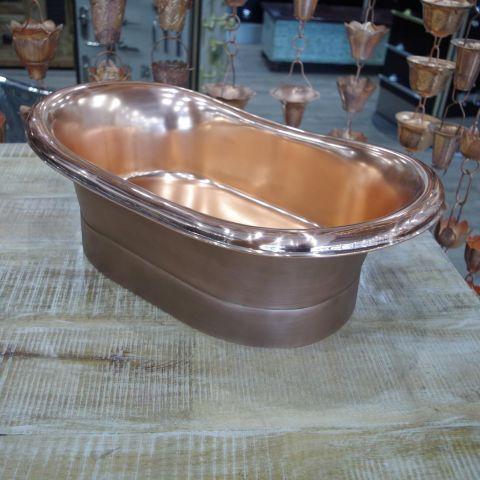 Antique Copper Outside, Polished Copper Inside Sink - Copper - Antique Copper Outside, Polished Copper Inside - MHSNK009