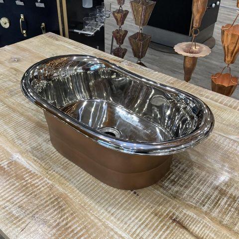 Antique Copper Outside, Mirror Nickel Inside Sink