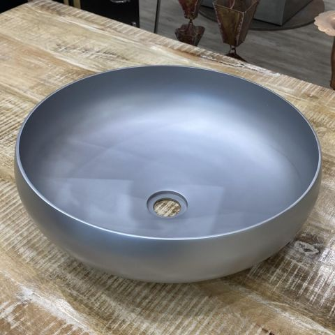 Round Satin Nickel Inside and Outside Sink