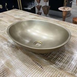 Satin Wood Effect Outside, Satin Nickel Inside Oval Sink