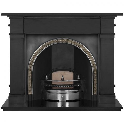 Kensington Cast Iron Fireplace Insert - Cast Iron - Brass Trim - MHJI566