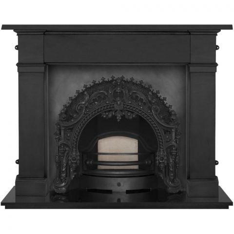 Rococo Cast Iron Fireplace Insert - Cast Iron - Black - MHJI575